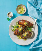 Hasselback sweet potatos with blue cheese butter