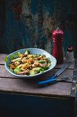 Avocado and cauliflower salad with hummus and watercress