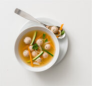 Consommé with leftover dumplings and sherry