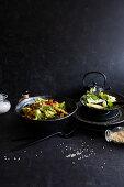 Roasted root vegetable salad with sesame seeds