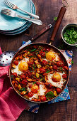 Pan fried veg with chickpeas and fried eggs (Morocco)