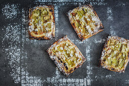 Frangipane puff pastry with rhubarb (top view)