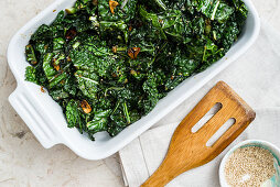 Braised kale with miso