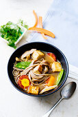 Vegetable soup with soba noodles and tofu (Asia)