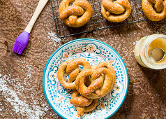 Gluten-free salt pretzels with honey butter