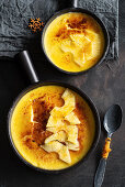 Creme brulee with mango and pineapple