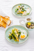 Braised leek with melted camembert and fried eggs
