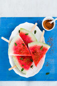 Watermelon with salt and chilli flakes