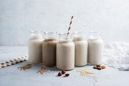 Bottles of vegan milk alternatives: buckwheat-rice drink, barley-rice drink, hazelnut-rice drink, quinoa-rice drink, almond milk