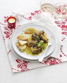 Anguilla alla trapanese (eel in saffron sauce with fennel, Italy)