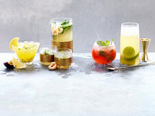 Passionfruit Pisco Punch, Green Tea and Lychee Cocktail, Rhubarb and Elderflower Mojito, Cuba Libre