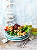 Garnelen-Kichererbsen-Salat mit Zitronen-Sardellen-Dressing zu Weihnachten