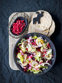 Mixed salad with beetroot, turnip and turkey and ginger rolls