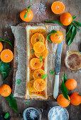 Tangerine brulee tart