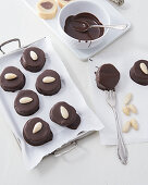 Marzipan nougat biscuits with chocolate glaze