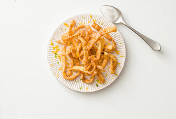 Tagliatelle dolci fritters (deep-fried fettuccine with lemon zest and sugar, Italy)