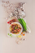 Bloody mary pasta with shrimps
