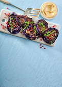 Baked red cabbage steaks with dukkah