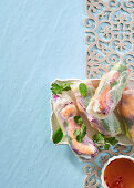 Red cabbage and prawn spring rolls with spicy dipping sauce