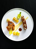 Short ribs with fried soft shell crab, polenta and sweetcorn