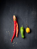 Red, green and yellow chilli peppers
