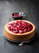 Rhubarb and raspberry cheesecake