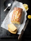 Lemon drizzle cake, sliced