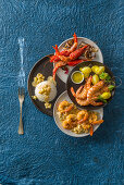 Three prawn dishes