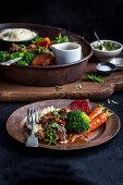 Braised Beef Cheeks with Parsnip Puree and Chimichurri