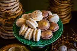 Macaroons and whoppie pies with gold dust for Easter high tea