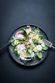 Wild herb salad with radishes and yoghurt dressing