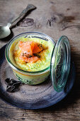 Salmon with egg and spinach in a glass
