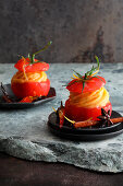 Spiced tomatoes with sorbet