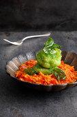 Herb monk fish on tomato pastasotto