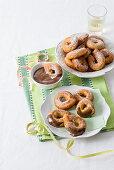 Banana doughnuts with chocolate sauce