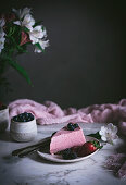 Strawberry mousse tart on table