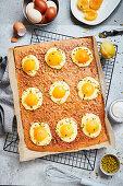 Fried egg cake for Easter