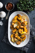 Roasted vegan harissa potatoes (New potatoes with North African spice paste)