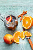 Sangria with apple and orange