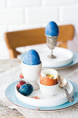 Easter colored eggs for breakfast