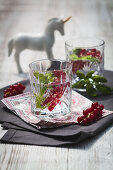 Gin & Tonic with basil and unicorn-shaped berry jam ice cubes