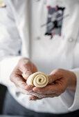 Rolled up pizza dough