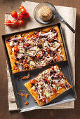 Focaccia from Friaul with Morlacco cheese, radicchio and cherry tomatoes