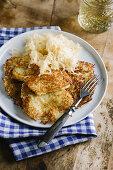 Potato fritters with sauerkraut