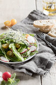Mange tout salad with beansprouts, radishes and yellow tomatoes