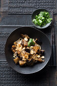 Soba noodles with fried aubergines and ginger (Asia)