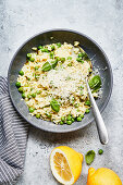 Pea risotto with Parmesan cheese and basil