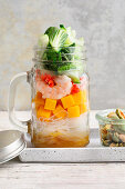 Glass noodle salad with mango and prawns