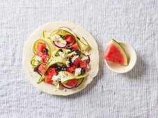 Melon and feta salad with courgettes