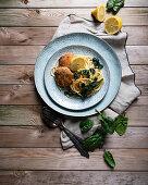 Lemon spaghetti with spinach and soya schnitzel (vegan)